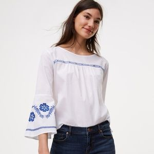 NWT LOFT blue embroidered white valley blouse